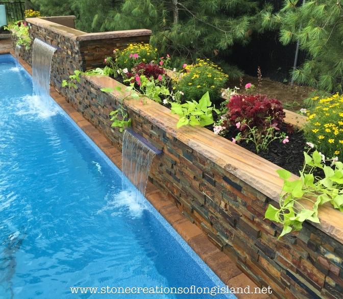 Nicolock Paver Pool Patio with Triple Stone Veneer Waterfalls, Lindenhurst, N.Y.