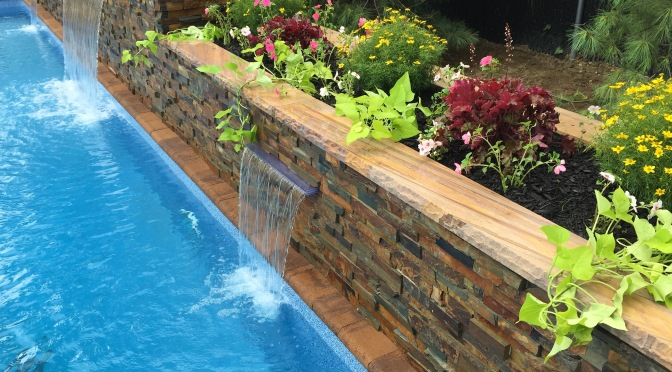 Nicolock Paver Pool Patio with Triple Stone Veneer Waterfalls, Lindenhurst, N.Y.