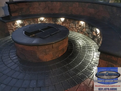 Cambridge Pavers Firepit and Seatwall