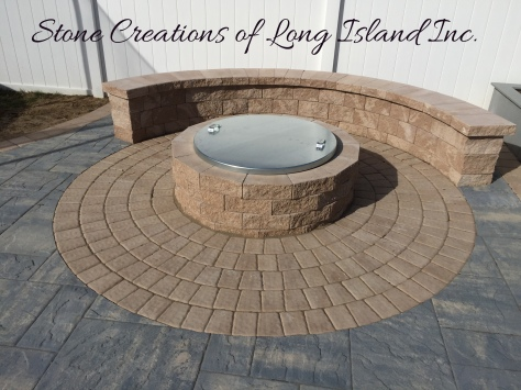 Cambridge Paver Patio with Firepit and Cover, Lindenhurst NY 11757