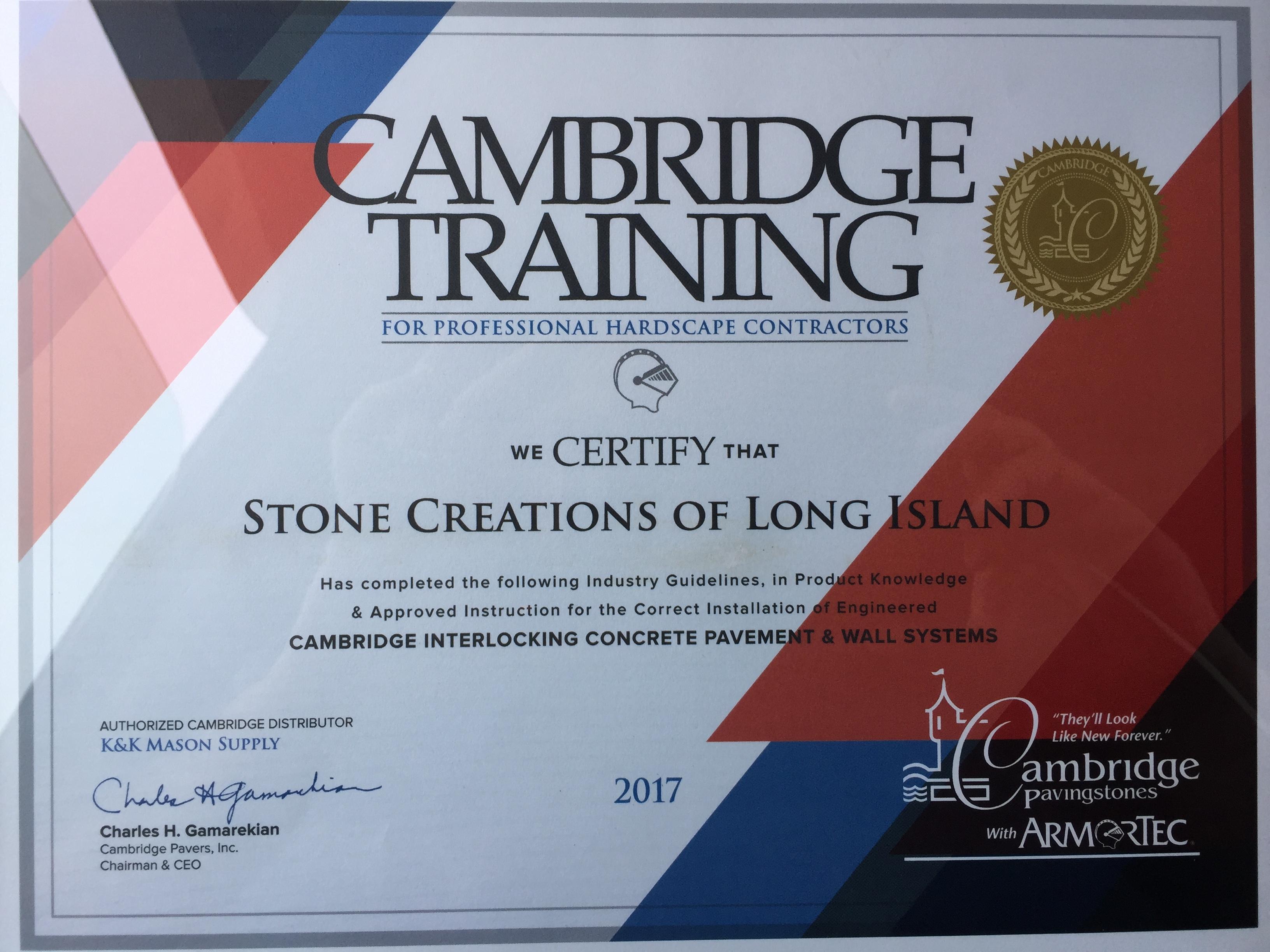 Cambridge Pavers Certified Contractors