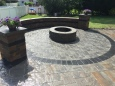 Cambridge Paver Outdoor Living Patio with Firepit and Seatwall, Centereach, NY 11720