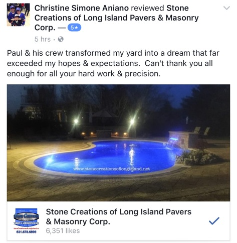 5 Star review for Stone Creations of Long Island