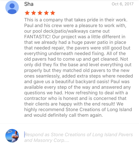 5 Star google review for Stone Creations of Long Island