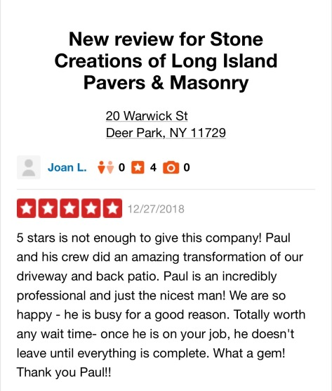Stone Creations of Long Island Review - #thanks